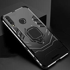 Custodia Silicone e Plastica Opaca Cover con Magnetico Supporto per Huawei Honor 20 Lite Nero