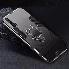 Custodia Silicone e Plastica Opaca Cover con Magnetico Supporto per Huawei Honor 20 Pro Nero