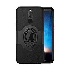 Custodia Silicone e Plastica Opaca Cover con Magnetico Supporto per Huawei Mate 10 Lite Nero