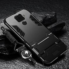 Custodia Silicone e Plastica Opaca Cover con Magnetico Supporto per Huawei Mate 30 Lite Nero