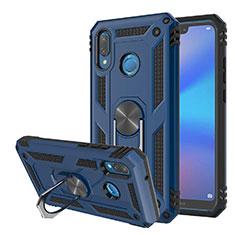 Custodia Silicone e Plastica Opaca Cover con Magnetico Supporto per Huawei Nova 3e Blu
