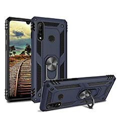 Custodia Silicone e Plastica Opaca Cover con Magnetico Supporto per Huawei Nova 4e Blu