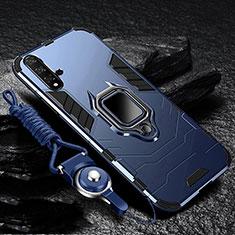 Custodia Silicone e Plastica Opaca Cover con Magnetico Supporto per Huawei Nova 5 Pro Blu