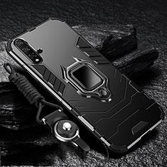 Custodia Silicone e Plastica Opaca Cover con Magnetico Supporto per Huawei Nova 5 Pro Nero