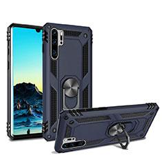 Custodia Silicone e Plastica Opaca Cover con Magnetico Supporto per Huawei P30 Pro Blu