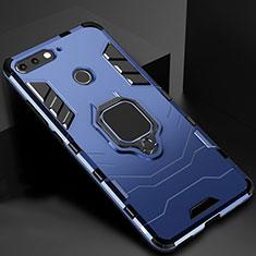 Custodia Silicone e Plastica Opaca Cover con Magnetico Supporto per Huawei Y6 Prime (2018) Blu