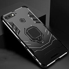 Custodia Silicone e Plastica Opaca Cover con Magnetico Supporto per Huawei Y6 Prime (2018) Nero