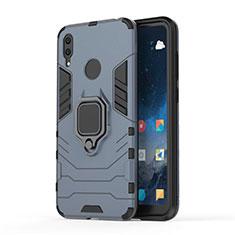 Custodia Silicone e Plastica Opaca Cover con Magnetico Supporto per Huawei Y7 (2019) Blu