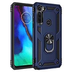 Custodia Silicone e Plastica Opaca Cover con Magnetico Supporto per Motorola Moto G Pro Blu