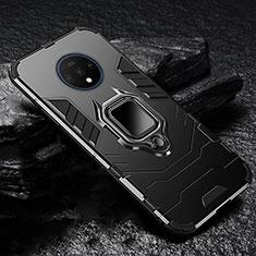 Custodia Silicone e Plastica Opaca Cover con Magnetico Supporto per OnePlus 7T Nero