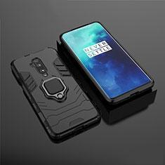 Custodia Silicone e Plastica Opaca Cover con Magnetico Supporto per OnePlus 7T Pro Nero