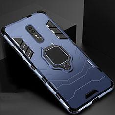 Custodia Silicone e Plastica Opaca Cover con Magnetico Supporto per Oppo A9 Blu