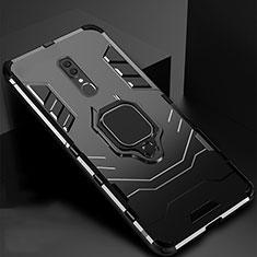 Custodia Silicone e Plastica Opaca Cover con Magnetico Supporto per Oppo A9X Nero