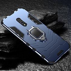 Custodia Silicone e Plastica Opaca Cover con Magnetico Supporto per Oppo Realme X Blu