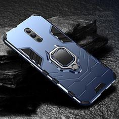 Custodia Silicone e Plastica Opaca Cover con Magnetico Supporto per Oppo Reno Blu