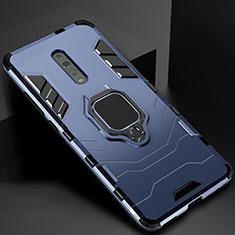 Custodia Silicone e Plastica Opaca Cover con Magnetico Supporto per Oppo Reno Z Blu