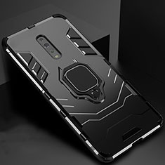 Custodia Silicone e Plastica Opaca Cover con Magnetico Supporto per Oppo Reno Z Nero