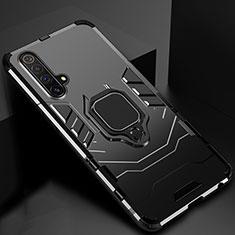 Custodia Silicone e Plastica Opaca Cover con Magnetico Supporto per Realme X50 5G Nero