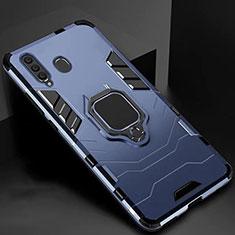 Custodia Silicone e Plastica Opaca Cover con Magnetico Supporto per Samsung Galaxy A60 Blu