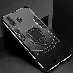 Custodia Silicone e Plastica Opaca Cover con Magnetico Supporto per Samsung Galaxy A60 Nero