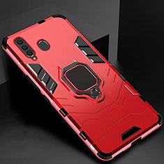 Custodia Silicone e Plastica Opaca Cover con Magnetico Supporto per Samsung Galaxy A60 Rosso