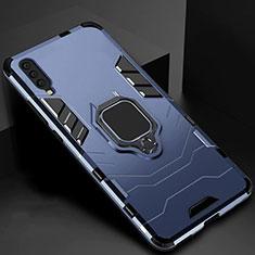 Custodia Silicone e Plastica Opaca Cover con Magnetico Supporto per Samsung Galaxy A70 Blu