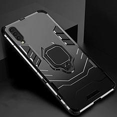 Custodia Silicone e Plastica Opaca Cover con Magnetico Supporto per Samsung Galaxy A70 Nero