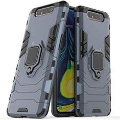 Custodia Silicone e Plastica Opaca Cover con Magnetico Supporto per Samsung Galaxy A80 Blu