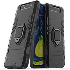Custodia Silicone e Plastica Opaca Cover con Magnetico Supporto per Samsung Galaxy A80 Nero