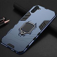 Custodia Silicone e Plastica Opaca Cover con Magnetico Supporto per Samsung Galaxy Note 10 5G Blu