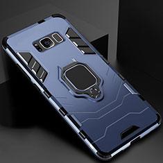 Custodia Silicone e Plastica Opaca Cover con Magnetico Supporto per Samsung Galaxy S8 Plus Blu