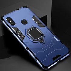 Custodia Silicone e Plastica Opaca Cover con Magnetico Supporto per Xiaomi Mi 6X Blu
