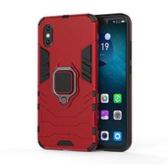 Custodia Silicone e Plastica Opaca Cover con Magnetico Supporto per Xiaomi Mi 8 Pro Global Version Rosso