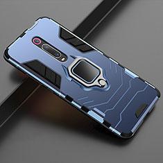 Custodia Silicone e Plastica Opaca Cover con Magnetico Supporto per Xiaomi Mi 9T Blu