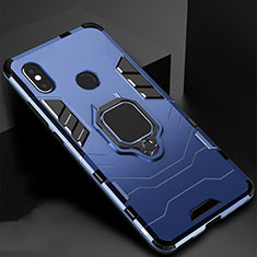 Custodia Silicone e Plastica Opaca Cover con Magnetico Supporto per Xiaomi Mi A2 Lite Blu