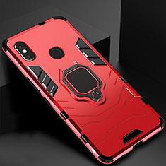 Custodia Silicone e Plastica Opaca Cover con Magnetico Supporto per Xiaomi Mi A2 Lite Rosso