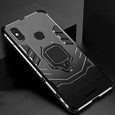 Custodia Silicone e Plastica Opaca Cover con Magnetico Supporto per Xiaomi Mi A2 Nero