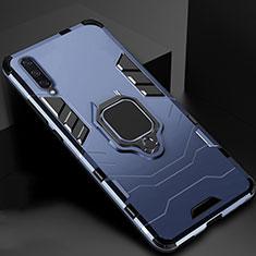 Custodia Silicone e Plastica Opaca Cover con Magnetico Supporto per Xiaomi Mi A3 Blu