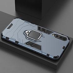 Custodia Silicone e Plastica Opaca Cover con Magnetico Supporto per Xiaomi Mi A3 Lite Blu