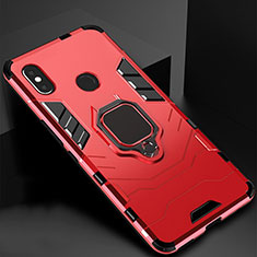 Custodia Silicone e Plastica Opaca Cover con Magnetico Supporto per Xiaomi Redmi 6 Pro Rosso