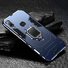 Custodia Silicone e Plastica Opaca Cover con Magnetico Supporto per Xiaomi Redmi Note 7 Blu