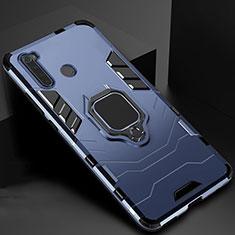 Custodia Silicone e Plastica Opaca Cover con Magnetico Supporto per Xiaomi Redmi Note 8 Blu