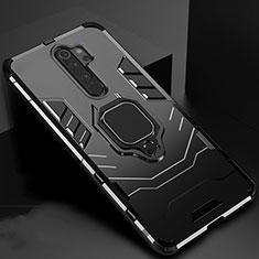 Custodia Silicone e Plastica Opaca Cover con Magnetico Supporto per Xiaomi Redmi Note 8 Pro Nero