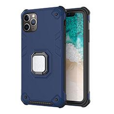 Custodia Silicone e Plastica Opaca Cover con Magnetico Supporto Z01 per Apple iPhone 11 Pro Max Blu