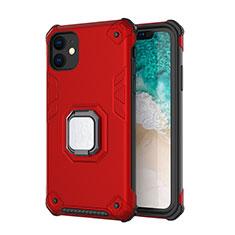 Custodia Silicone e Plastica Opaca Cover con Magnetico Supporto Z01 per Apple iPhone 11 Rosso