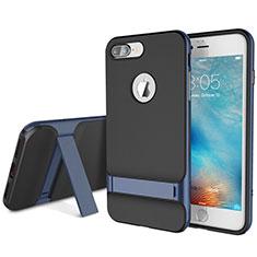 Custodia Silicone e Plastica Opaca Cover con Supporto A01 per Apple iPhone 8 Plus Blu