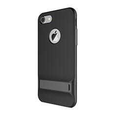Custodia Silicone e Plastica Opaca Cover con Supporto A01 per Apple iPhone SE (2020) Nero