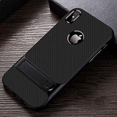 Custodia Silicone e Plastica Opaca Cover con Supporto A01 per Apple iPhone X Nero