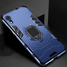 Custodia Silicone e Plastica Opaca Cover con Supporto A01 per Apple iPhone XR Blu