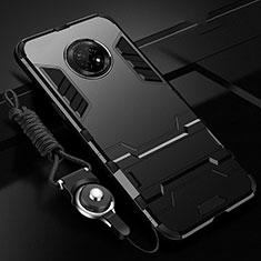 Custodia Silicone e Plastica Opaca Cover con Supporto A01 per Huawei Enjoy 20 Plus 5G Nero
